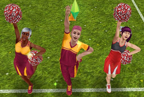 チア姿で応援を楽しむシムたち(The Sims フリープレイ)