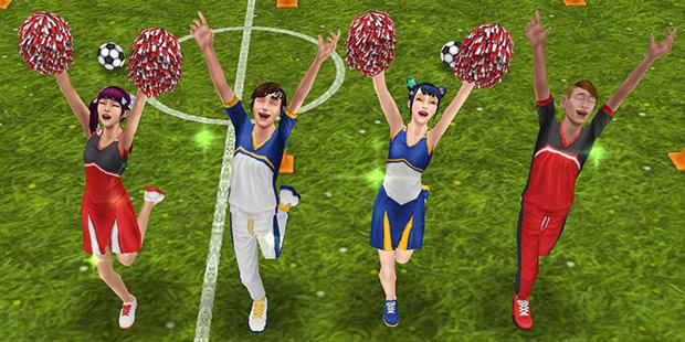 チア姿で応援を楽しむティーンシムたち(The Sims フリープレイ)