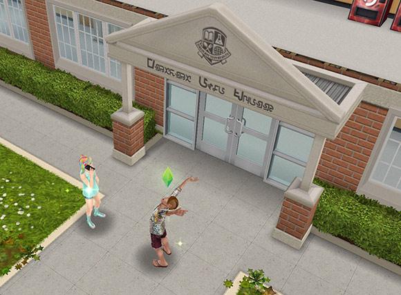 ダウンタウン高校正面玄関前に集合したティーンシム(The Sims フリープレイ)