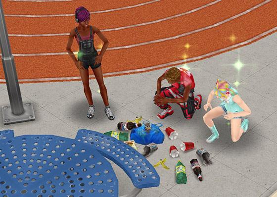 ランニングトラック脇でゴミ拾いをするティーンシムたち(The Sims フリープレイ)