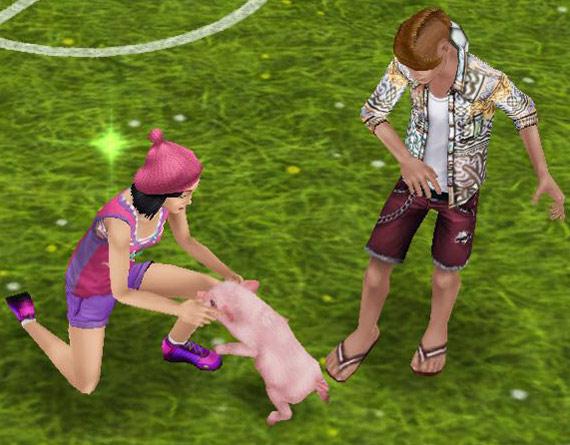 ミニブタにはしゃぐティーンシムたち(The Sims フリープレイ)