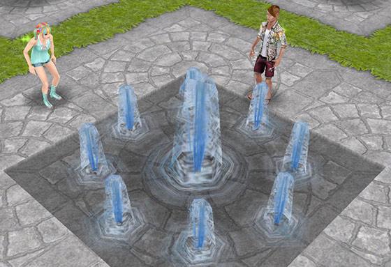 公園の噴水でミニブタを探すティーンシムたち(The Sims フリープレイ)