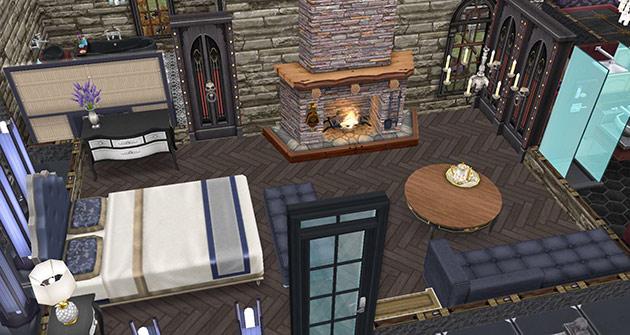 ゴーストハウス:暖炉のある主寝室(The Sims フリープレイ)