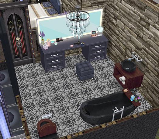 ゴーストハウス:主寝室のバスルーム(The Sims フリープレイ)