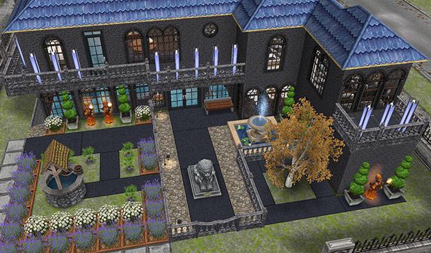 モダンなゴーストハウス正面外観(The Sims フリープレイ)