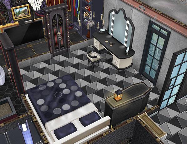 ゴーストハウス:モノトーンの寝室(The Sims フリープレイ)