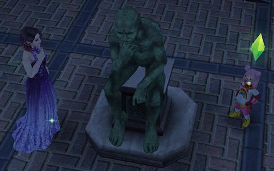 公園の考える像に近くシムたち(The Sims フリープレイ)