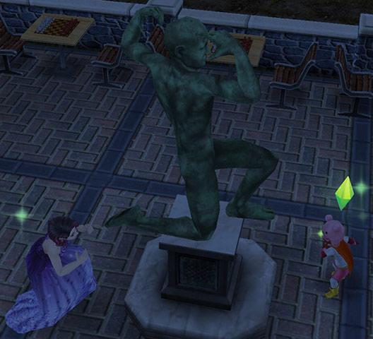 決めポーズをとる考える像(The Sims フリープレイ)