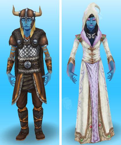 青いボディペイントを身につけ、ゾンビ戦士や冥界の魔道士に仮装したティーンシムたち(The Sims フリープレイ)