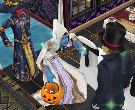 魔道士に仮装したティーンシムが嬉しそうにトリック・オア・トリート!(The Sims フリープレイ)