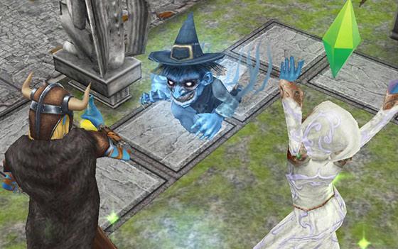 魔女ゴーストのワーツ登場に驚くティーンシムたち(The Sims フリープレイ)