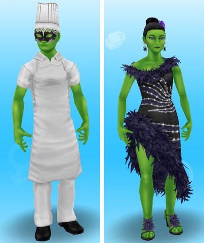 緑色のボディペイントを身につけ、植物キラーシェフと植物キラーダンサーに仮装した大人シムたち(The Sims フリープレイ)