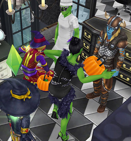 踊りながらトリック・オア・トリートを楽しむシムたち(The Sims フリープレイ)