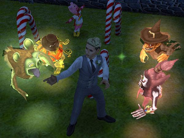夜の公園で、ゴーストたちを説得しようとする男性シム(The Sims フリープレイ)