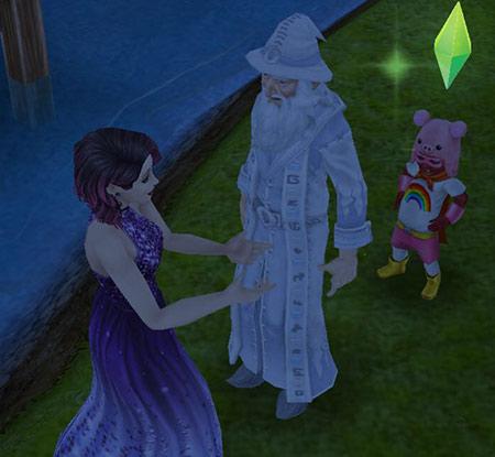 魔法使いウィッカムと話す女性シム(The Sims フリープレイ)
