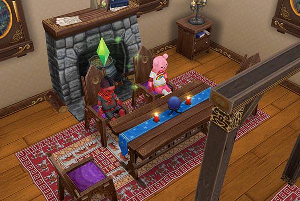 魔法使いの小屋で椅子に座り、うつむいて足をぶらぶらする幼児シムたち(The Sims フリープレイ)