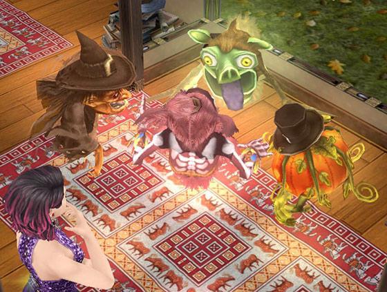 輪になって口論するゴーストたちのそばで、様子をうかがう女性シム(The Sims フリープレイ)