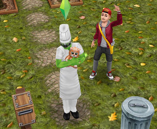 切なさにネコのぬいぐるみを抱きしめるシェフ仮装のシムの後ろで、明るく手を振る新聞配達ボーイ(The Sims フリープレイ)