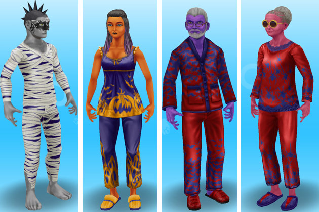 ハロウィンパジャマ姿のシニアと大人シム(The Sims フリープレイ)
