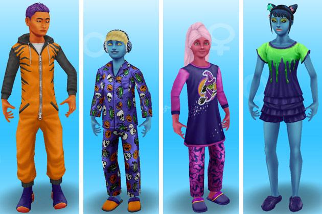 ハロウィンパジャマ姿の小学生とティーンシム(The Sims フリープレイ)