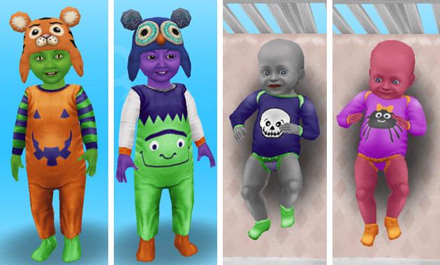 ハロウィンパジャマ姿の幼児と赤ちゃんシム(The Sims フリープレイ)