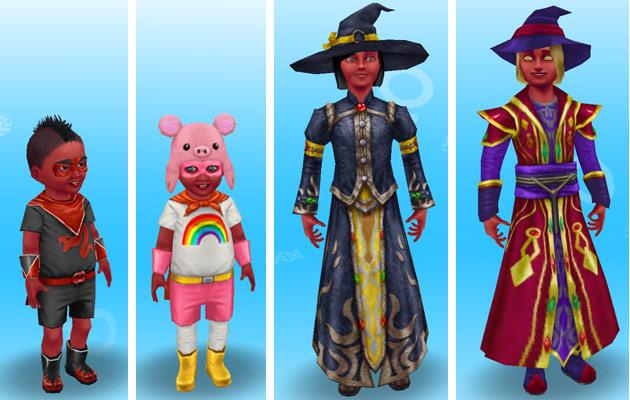 赤いボディペイントを身につけ、魔法使いやダークヒーローに仮装した、小学生と幼児シムたち(The Sims フリープレイ)