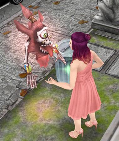 ピンク色のゴースト、グーリオと話す女性シム(The Sims フリープレイ)