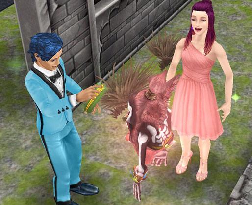 ゴースト・グーリオにコーンを渡すシム(The Sims フリープレイ)