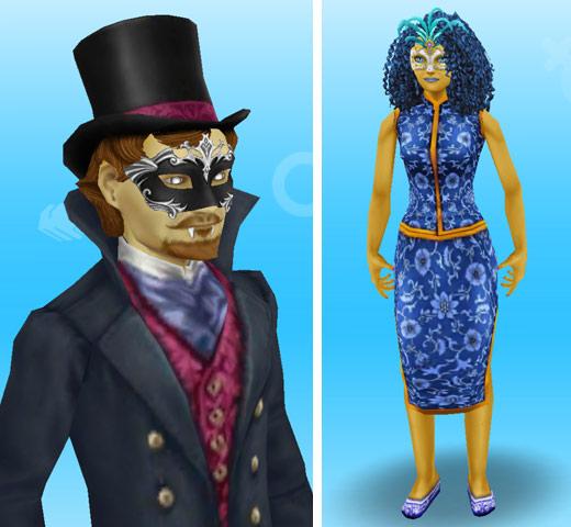 黄色いボディペイントを身につけ、ドラキュラや中華風ゾンビに仮装した大人シムたち(The Sims フリープレイ)