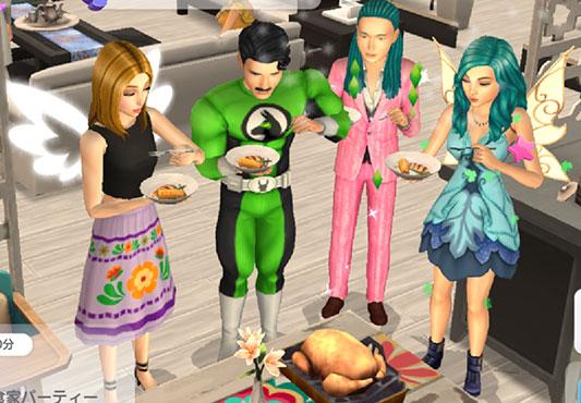 パーティーのごちそうを食べるシムたち(The Sims シムズ ポケット)
