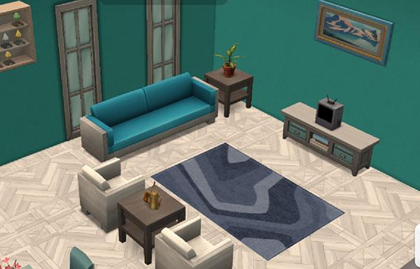 白、グレイ、緑のリビングルーム(The Sims シムズ ポケット)