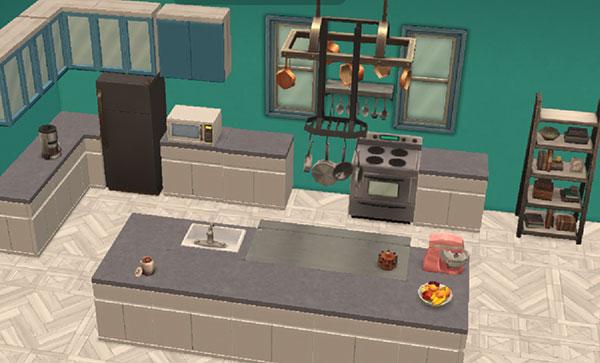 白、グレイ、緑のアイランドキッチン(The Sims シムズ ポケット)