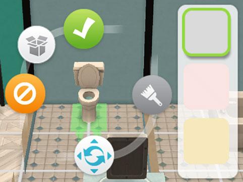 トイレの色選択、回転、移動(The Sims シムズ ポケット)
