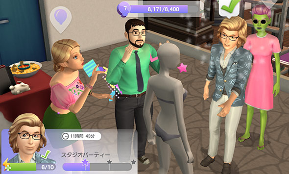 マネキン話で盛り上がるシムたち(The Sims シムズ ポケット)