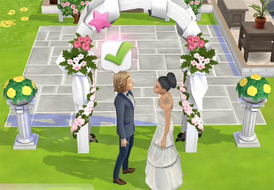 結婚式を挙げるノア君とヘイリー(The Sims シムズ ポケット)