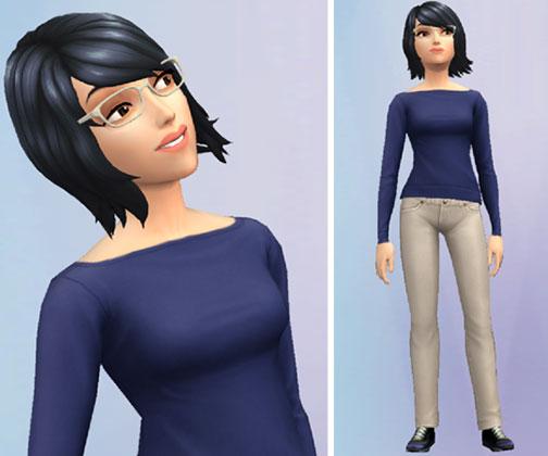 メガネリラックス姿のサラちゃん(The Sims シムズ ポケット)