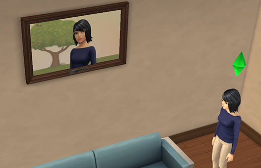 自宅に飾られた、サラちゃんの特大写真(The Sims シムズ ポケット)