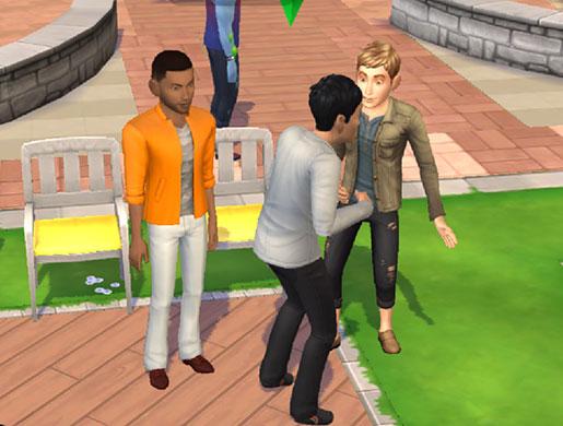 NPCシムたちと話すノア君(The Sims シムズ ポケット)