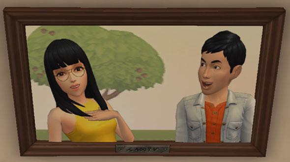 記念写真。なかむつまじいヨウスケ君とサラちゃん(The Sims シムズ ポケット)