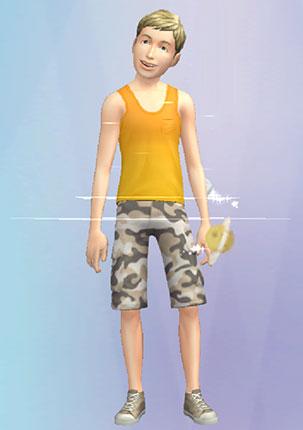 夏休みボーイのような、タンクトップ姿のノア君(The Sims シムズ ポケット)