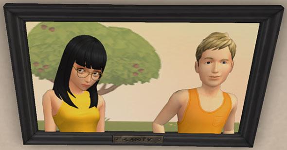 記念写真。サラちゃんの目線が怖い(The Sims シムズ ポケット)
