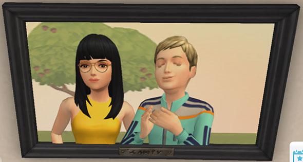 記念写真。サラちゃんにすりよるノア君(The Sims シムズ ポケット)