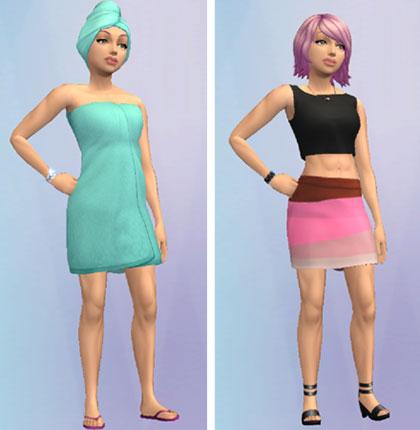 エラさんの着せ替え。バスローブ、ピンクミニスカート(The Sims シムズ ポケット)