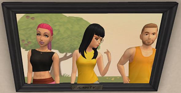 記念写真。パワフルなエラさん、エスニックなサラちゃん、タンクトップのノア君(The Sims シムズ ポケット)