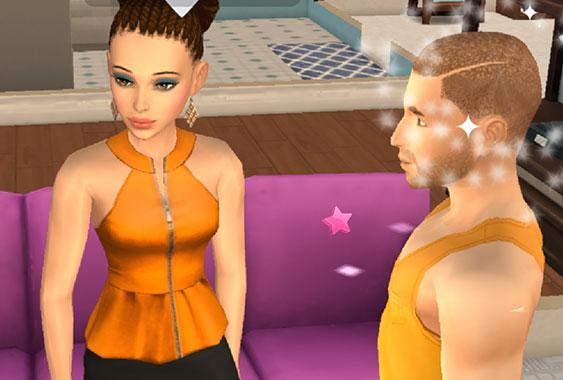 ノア君とNPCシム ヘイリーさん(The Sims シムズ ポケット)