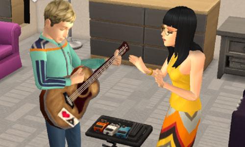 ギターを楽しむノア君とサラちゃん(The Sims シムズ ポケット)