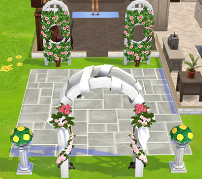 家に飾った「結婚式」コレクションのオブジェクト(The Sims シムズポケット)