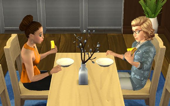 デザートを試食する、ノア君とヘイリーさん(The Sims シムズポケット)