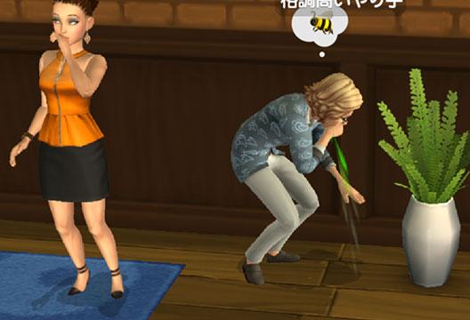 レストランの隅で、緑色のものを吐き出すノア君(The Sims シムズポケット)