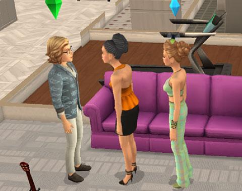 立って見つめ合うシムたち(The Sims シムズポケット)